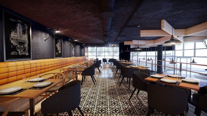 Wishbone Cafe and Bistro Bar, Sandton, South Africa. Interior Design by Black  Sheep Interiors. Architectural design render by Arcvisa Studio.